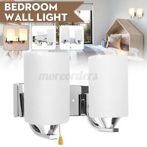 Single/Double Head Glass Wall Sconce Light Indoor Fixture Bedside Lamp +
