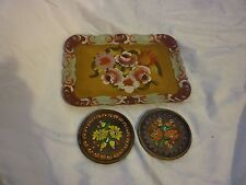 Flower set of 2 coasters and Wood Tray, Jewelry tray, Light wood hand painted