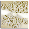 200 WHITE PEARL HEART SHAPED RIBBON SLIDER BUCKLES  IDEAL FOR  INVITES, CRAFTS