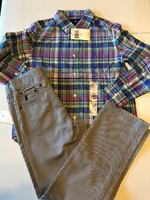 New Polo Ralph Lauren Boy's Sz 6 Outfit Dungarees Pants Plaid Shirt L/S Button