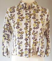 Hobbs Women's Shirt Top White Green Size 14 100% Linen Cropped Floral VGC