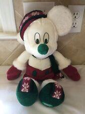 Disney Winter Fun Mickey Mouse White Plush Knit Hat Gloves Winterfun Christmas