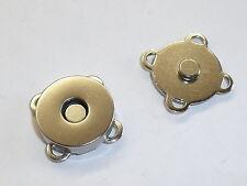 5 Stück Magnetverschluss Magnetknopf  Verschluss zum Annähen silber 18 mm NEU