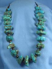 Ethnographic Genuine Large Turquoise & Silver Necklace - Antique Hand Crafted
