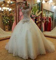 Women's Top Grade Luxury Wedding Dresses White Trailing Long Dress Custom Bling