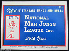Vtg. 1973-74 NATIONAL MAH JONGG Mahjong LEAGUE RULES GAME CARD, NMJL