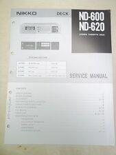 Vtg Nikko Service/Repair Manual~ND-600/620 Cassette Deck~Original