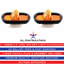 """2 - AMBER 6"""" OVAL MID-SHIP TURN TRUCK TRAILER LIGHT WITH GROMMET &  PIGTAIL KIT"""