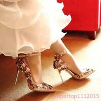 New Womens Stilettos Flowers Pointy Toe Rivet Ladies Wedding Shallow Mouth Shoes