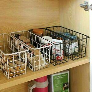 2 Iron Storage Basket Metal Wire Mesh Bathroom Kitchen Organizer Black Desk Tidy