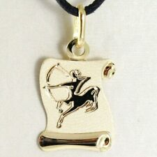 18K YELLOW GOLD ZODIAC SIGN MEDAL SAGITTARIUS PARCHMENT ENGRAVABLE MADE IN ITALY