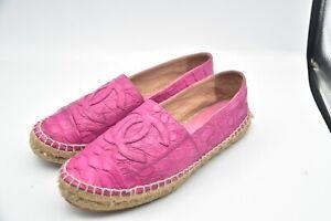 Chanel Expardiles Alligator Crocodile Pink Spain Flat Shoes Women's SZ 38 US 8
