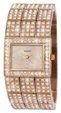 Sekonda Seksy Ladies Rose Gold Effect Crystal Set Watch Square Cream Dial 2236