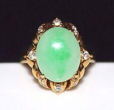 Vintage Estate 18k Yellow Gold Apple Green Jadeite Jade Diamond Ring, Size 7 3/4
