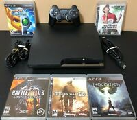 Sony PS3 Slim CECH-2001b 120GB Console Bundle + Controller + 5 Games - Tested