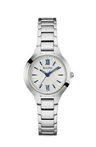 Bulova Women's Quartz Blue Hands and Markers Silver Tone 28mm Watch 96L215