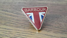 A quality  Barbour international -  waxed motorcycle jacket pin badge