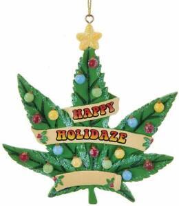 "Kurt Adler 4"" Resin Christmas Ornament Cannabis Happy Holidaze Standard"
