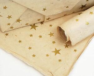 Lokta Paper, Handmade Fair Trade Wrapping Paper, Gold Stars Print, choose colour