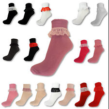 NEW GIRLS LADIES FRILL FRILLY LACE LACEY RED BLACK WHITE ANKLE TRAINER SOCKS