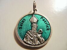 """St. Patrick Green Enamel Medal with Prayer  Made in Italy!  3/4"""" round FREE SHIP"""