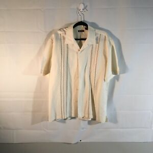 Centro mens Hawaiian Button up shirt Size L , Cream with stitching on front