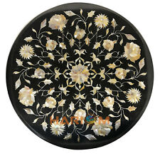 18'' Black Marble Coffee Table Top Mother of Pearl Floral Marquetry Inlay B147