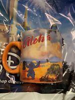 "Disney Lilo and Stitch ""Aloha"" 14oz Coffee Mug / Cup, Orange with Blue Interior"