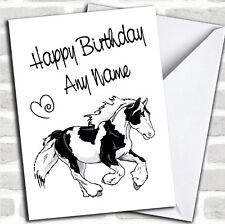 Piebald Gypsy Vanner Cob Horse Birthday Customised Card
