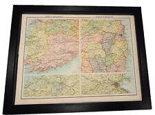 Antique Framed Citizen's Atlas World Map from the 1890's Cork Dublin Ireland