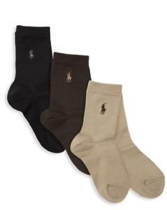 New Ralph Lauren Boy's 3-Pack Supersoft Flat Socks Set Choose Size