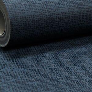 Plain Dark Navy Blue Linen Cloth Effect Smooth Rasch Wallpaper Paste The Wall