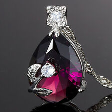 Lady Xmas Jewelry Pear Cut Pink Purple Sapphire Amethyst Pendant Necklace