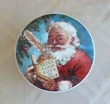 Christmas Santa Tin By Daher Made In England Round Vintage Santa's Sleigh Tin