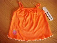 Baby girls orange strappy vest top in age 0-3 months new from Ladybird