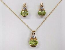 NWOT Peridot Diamond 14K Yellow Gold Pendant Necklace Earring Unique Set 16.5""