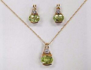 "NWOT Peridot Diamond 14K Yellow Gold Pendant Necklace Earring Unique Set 16.5"""