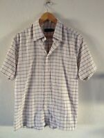 Parkers Men's Cotton Polyester Shirt Size L Natural With Blue Check <R10192z
