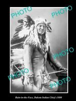 OLD LARGE HISTORIC PHOTO OF DAKOTA INDIAN CHIEF RAIN IN THE FACE c1880