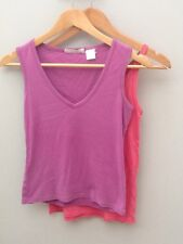 Pink Purple Cotton Vest Tops x 2.  8.  <N1452