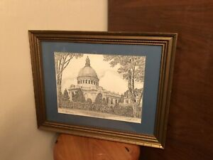 U.S. Naval Academy Chapel Martin Barry Signed Print Numbered 11/1150 Vintage