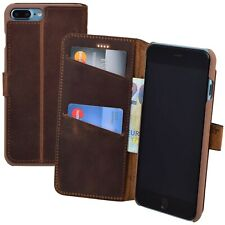 IPHONE 7 Plus Case Exclusive Genuine Leather Cover Wallet Antique Coffee