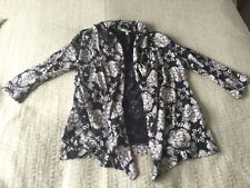 Lovely Fat Face navy blue white floral jersey cardigan open front size 10 summer