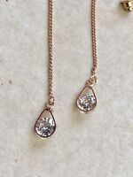 Fashion Brand New Rose Gold CZ Tear Drop Threader Earrings