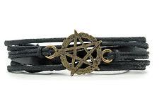 Pentagram Rope and Leather Adjustable Unisex Charm Bracelet-DIM303