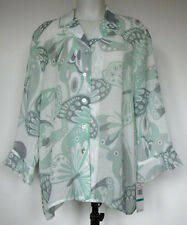 NEW NWT Alfred Dunner Green and Gray Butterfly Semi-Sheer Button-Front Shirt 16
