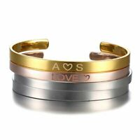 Personalized DIY Custom Name Letter Bracelet Bangle Cuff Stainless Steel Jewelry