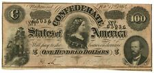 February 17, 1864 $100 Confederate States of America T-65 Seventh Issue 65036