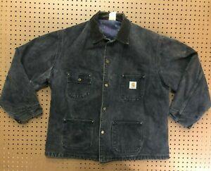 MENS XL - Vtg Carhartt Denim Blanket Lined Chore Coat Jacket
