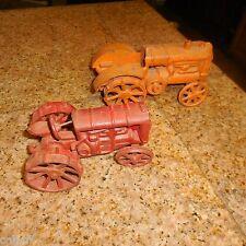 "2 LOT CAST IRON   Vintage Allis Chalmers Farm Tractor Toy  7"" Orange  &  6"" Red"